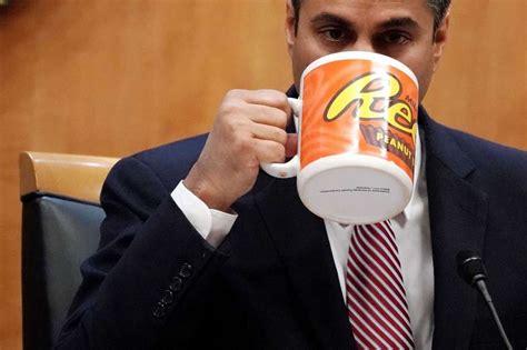 ajit pai mug internet fumes at fcc chairman s cartoonishly large coffee