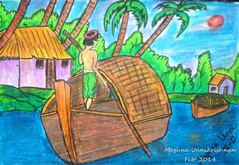 how to draw a boat with oil pastels sailing painting by meghna unnikrishnan