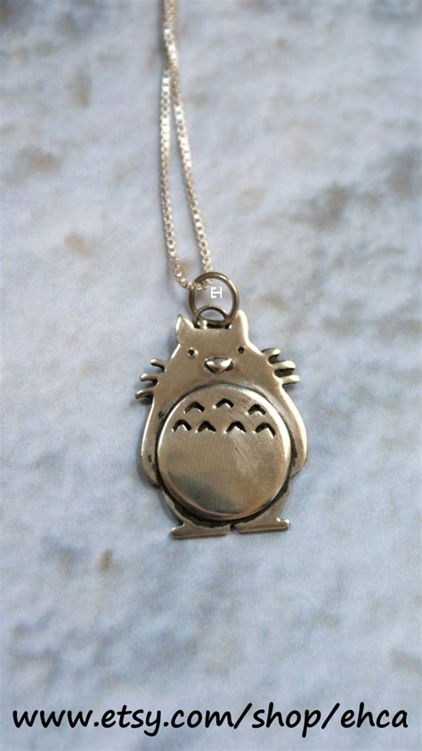 handmade sterling silver totoro necklace