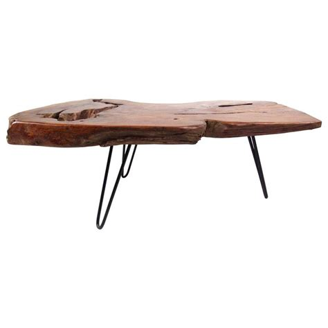 Tree Slab Coffee Table Rustic Modern Free Edge Tree Slab Coffee Table On Hairpin Legs For Sale At 1stdibs
