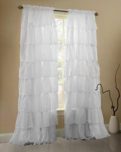 sheer ruffled curtains ruffle curtains rod pocket window panels white 60wx84l