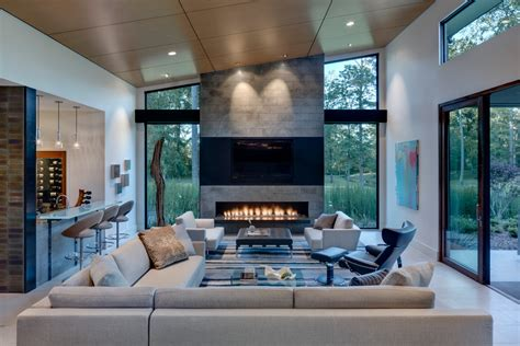 linear gas fireplace Living Room Contemporary with Black