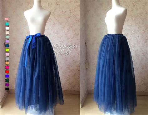Vallenia Dress Big Size Blue maxi skirt in navy blue tulle skirt tutu skirt plus size maxi tutu skirt floor