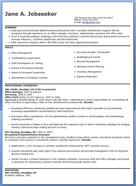 Resume Exle For An Administrative Assistant Office Manager Office Manager Resume Sles Resume Downloads