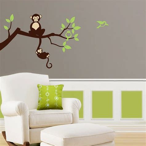 Tree Branch Wall Decal Nursery Tree Branch Monkey Nursery Vinyl Wall Decals Tree Decal Jungle Nursery Theme Grey Trees