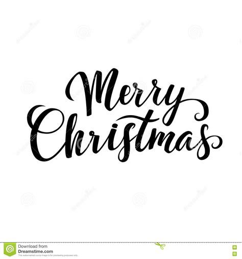 merry christmas calligraphy greeting card black typography  white background stock vector