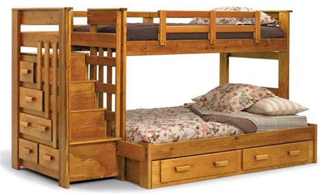 wooden bunk beds twin over full with stairs home