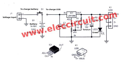 capacitor power bank circuit diagram power bank mobile charger circuit using lm1086 eleccircuit