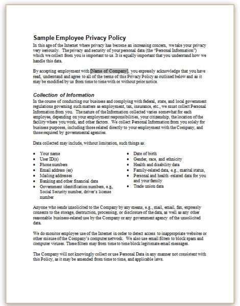 This Sle Policy Describes Privacy Rights Provided By An Employer To Its Employees Employee Privacy Policy Template