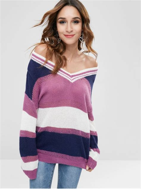 Color Block Chunky Sweater 2018 color block chunky drop shoulder sweater in multi one