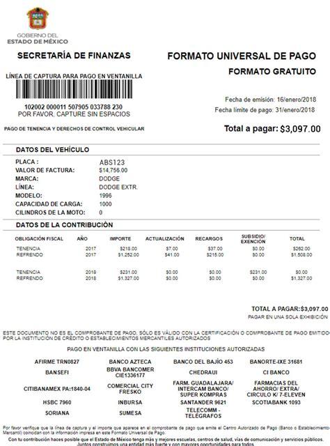 formato universal tenencia 2017 pago de la tenencia en el estado de m 233 xico en 2018