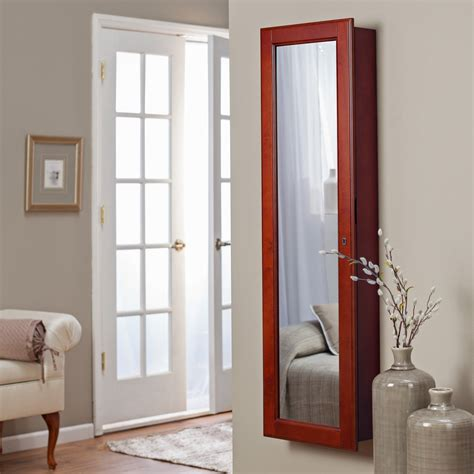 locking jewelry armoire belham living lighted wall mount locking jewelry armoire cherry 14 5w x 50h in