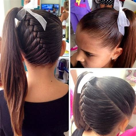 hair braided into pony tail braid into ponytail