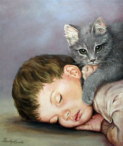 children s painting cat boy with kitten painting naptime pet animal paintings by