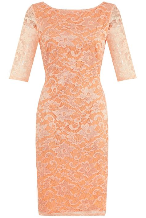 peach stretch lace bodycon wiggle pencil dress