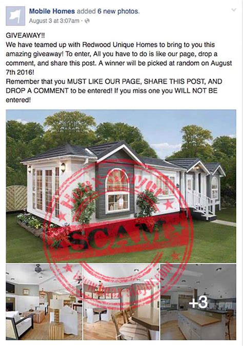 mobile home giveaway facebook scam hoax slayer - Mobile Home Giveaway On Facebook