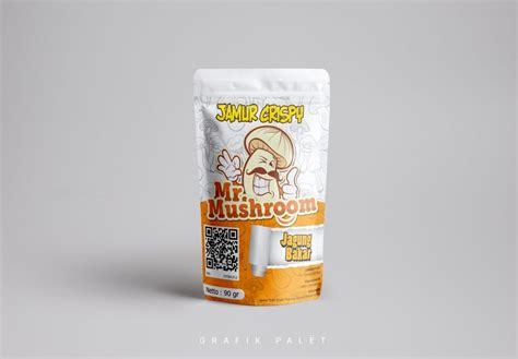 desain kemasan jamur crispy sticker kemasan produk jamur crispy mr mushroom grafik palet