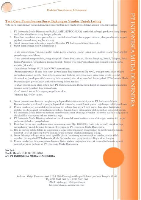 syarat penerbitan surat dukungan tender lelang produk raja