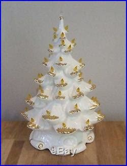 gold tipped christmas tree vtg 16 ceramic lighted white tree atlantic mold gold flocked tipped