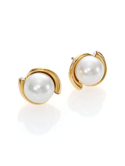 kate spade new york dainty sparklers faux pearl stud
