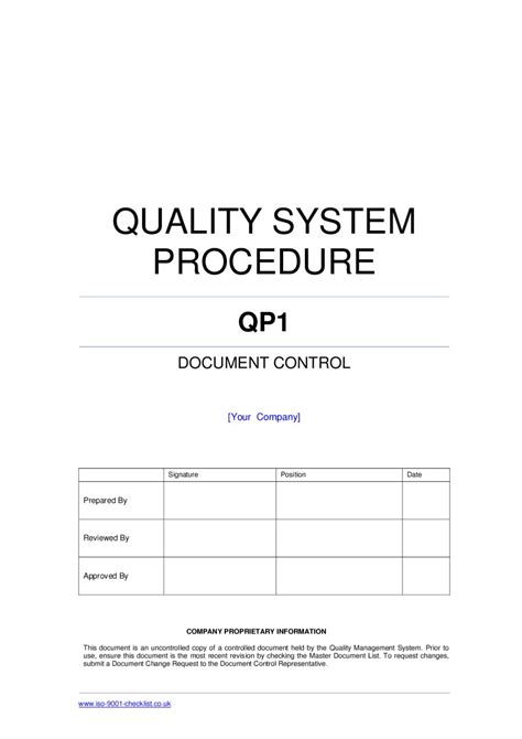 Document Control Procedure Exle By Iso 9001 Checklist Issuu Quality System Procedure Template