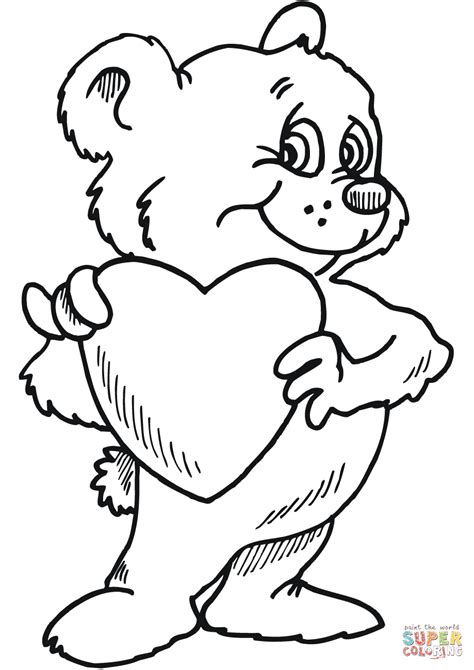 coloring page bear with heart teddy bear with heart coloring pages kids coloring