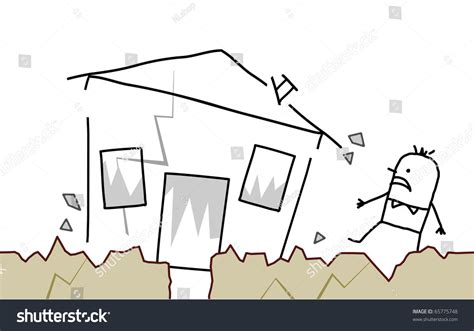 earthquake drawing hand drawn cartoon character man with house earthquake