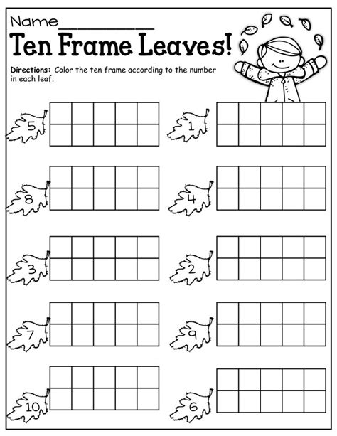 Ten Frame Worksheet by Fall Ten Frames Ten Frames Fall Literacy
