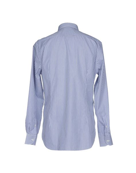 Hq 19037 Blue Stripe Button Outer Blouse lyst corneliani shirt in blue for