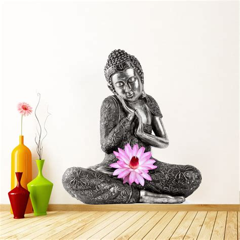 Lotus Flower Print Wall Sticker buddha meditating with lotus flower decor wall print