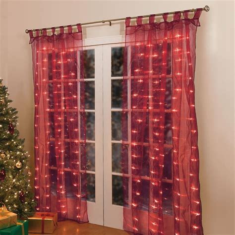 christmas curtain 84 quot lighted pre lit christmas light window panel curtains