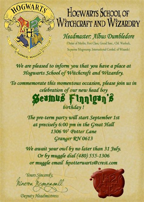 Invitation Letter Harry Potter Printable Birthday Invitation Hogwarts Letter Harry Potter