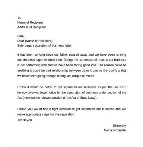 Divorce Letter From Attorney Letter Template 8 Sles Exles Formats