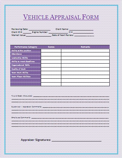 appraisal form template vehicle appraisal form a to z free printable sle forms