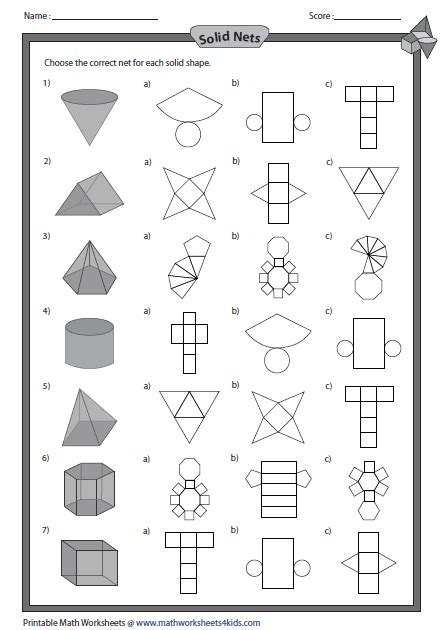 Drawing 3d Shapes Worksheet by Solid Net And Shapes Revision Pinte