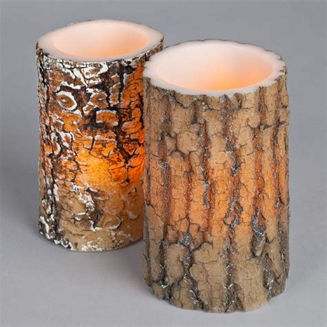 Look That Candles On by New Flameless Led Lodge Park Wood Log Look Wax Pillar