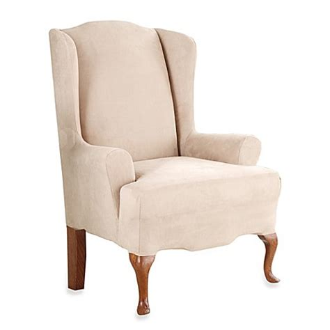 stretch wingback sofa slipcover sure fit 174 stretch suede wing chair slipcover bed bath