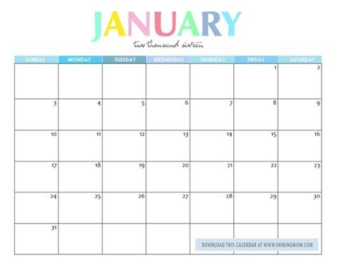 printable january 2016 daily planner january 2016 printable calendars print blank calendars