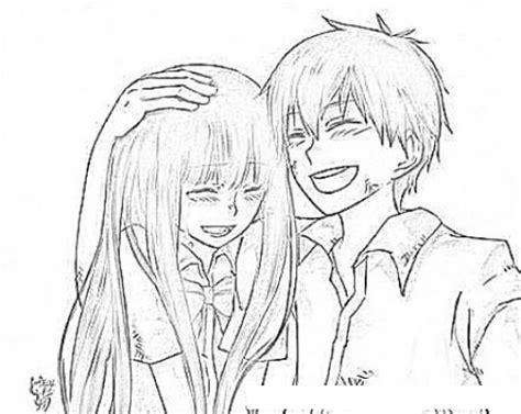 imagenes para dibujar de parejas dibujo de una pareja de amigos chinitos para pintar y
