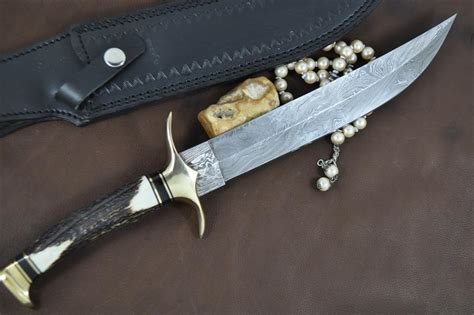 Handcrafted Bowie Knives - custom handmade damascus beautiful bowie knife with stag