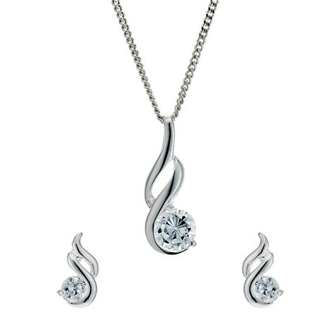 Silver Pendant With Cubic Zirconia P 181 sterling silver cubic zirconia earrings pendant set