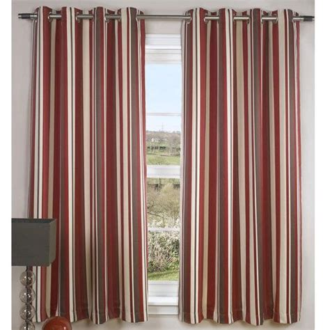 red brown curtains details about modern cream striped lined eyelet jacquard
