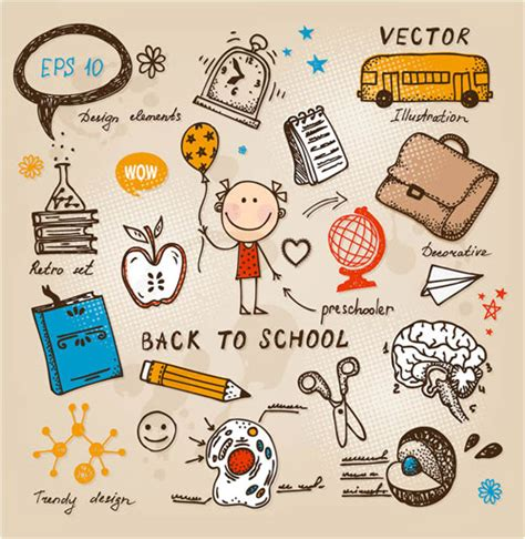 free doodle vector set free back to school children vector sets designfreebies