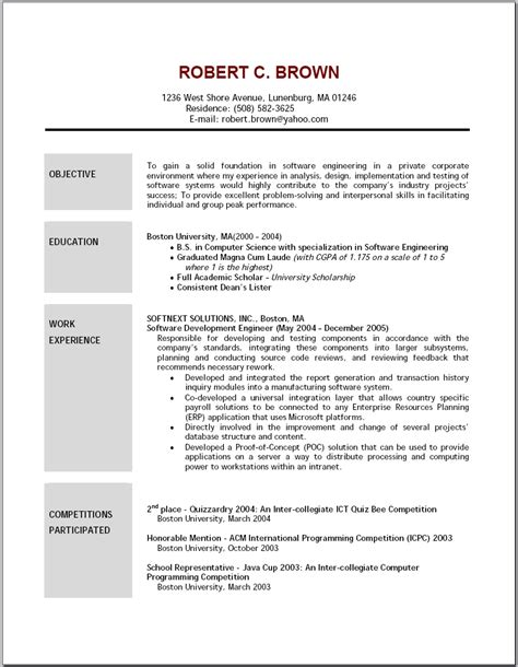 career objective templates exles of resumes 21 cover letter template for great