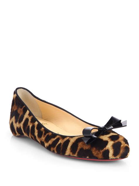 leopard shoes flats lyst christian louboutin simplenodo leopard print calf