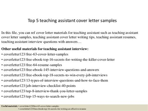 top 5 teaching assistant cover letter sles