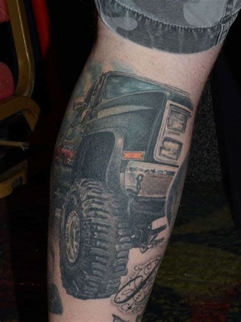 automotive tattoo awesome jeep car on leg tattooimages biz