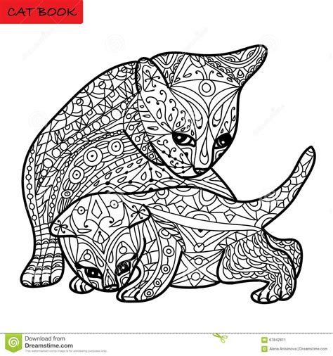 Cat Mother And Her Kitten Coloring Book For Adults