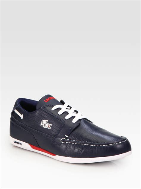 lacoste leather sneakers lacoste dreyfus leather sneakers in blue for lyst