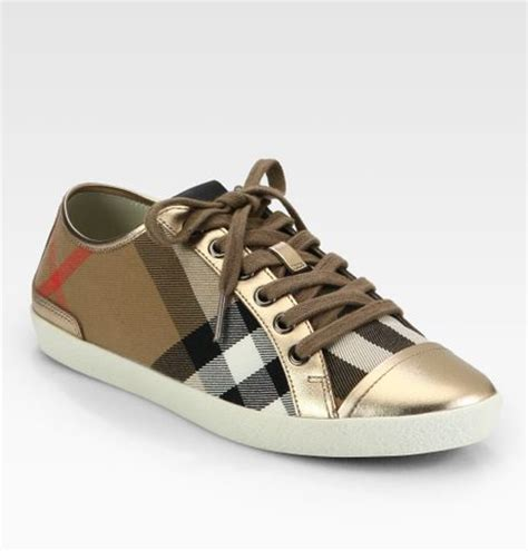 burberry logo canvas metallic leather sneakers in brown
